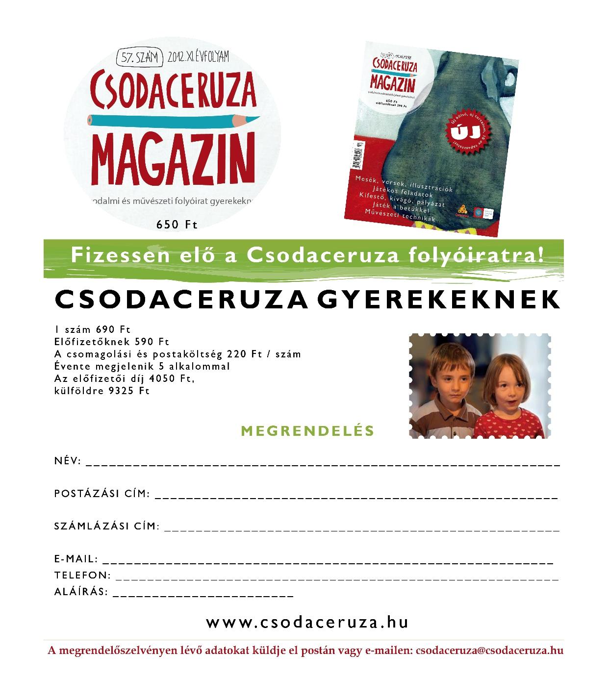 Megjelenés előtt a Csodaceruza gyerekeknek szóló száma