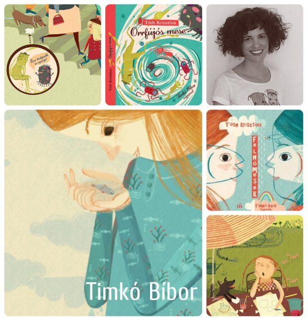 Timkó Bíbor illusztrációi Tóth Krisztina mesekönyveihez készültek: Az orrfújós mese a Centrál gondozásában jelent meg, a Felhőmesék a Magvetőnél